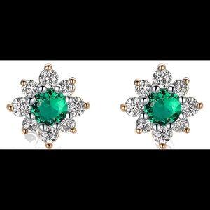 Gold Swarovski crystal stud flower earrings